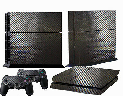 New 3D Textured Carbon Fiber Sticker Wrap Skin For PS4 Playstation 4 Black
