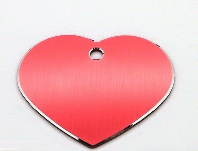 Milled Edge Large Red Heart pet id tags