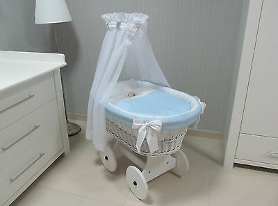 Tolo Wicker Moses Basket + Big Wooden Wheels + Bedding  Embroidery Bear Blue