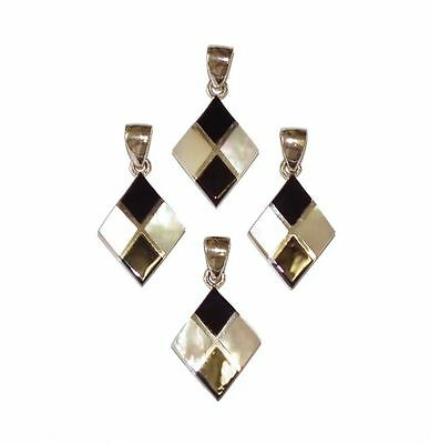4 x Stamped 925 Sterling Silver, Mother Of Pearl & Onyx Pendants - Job Lot