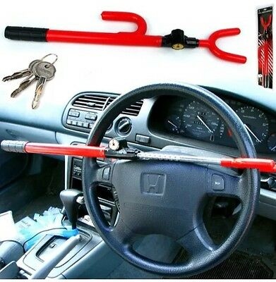 Anti Theft Steering Wheel Lock Double Hook Extendable Car Van Steel Security UK