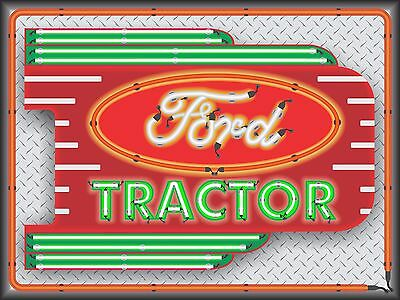 Ford Tractor Dealer Sales Neon Style Printed Banner Sign New Remake Art 4' X 3'