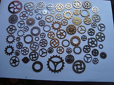100 Steampunk Cogs/gears 100 Gold Color Or 100 Bronze Color  Or 100 Silver Color