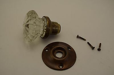 Antique Fluted Crystal Glass Door Knob w Solid Brass Shank, Escutcheon & Screws