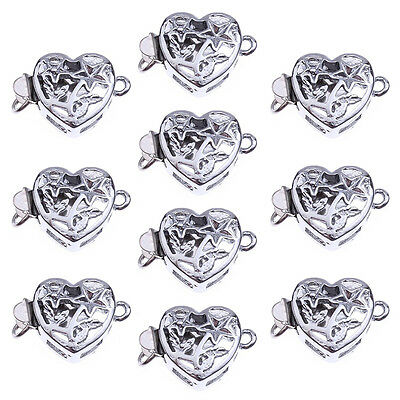 10 Silver Tone Alloy Hollow Heart Necklace Clasps Hooks Connector BF