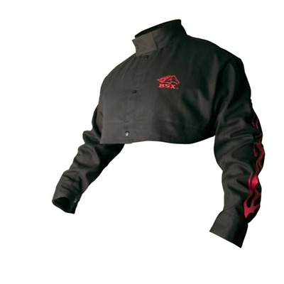 Revco BX21CS-XL BSX Flame-Resistant Welding Cape Sleeve - Black with Red Flames,