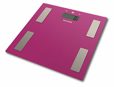 Salter Body Fat Scale - Ultra Slim Glass Electronic Digital Bathroom Scale Pink