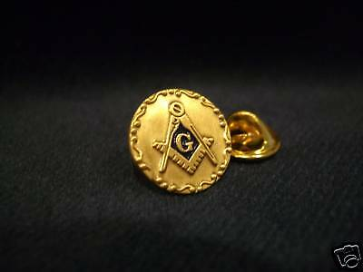 Masonic Round Square and Compass Lapel Pin and Pouch
