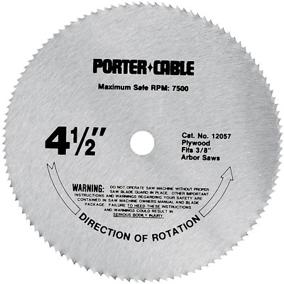 "Porter Cable 12057 4-1/2"" 120 Tooth TCG Plywood Cutting Saw Blade with 3/8"" Arbo"