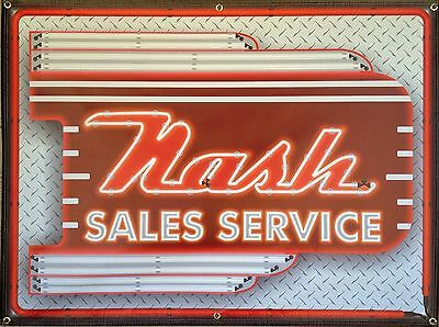 Nash Dealer Sales Marquee Neon Style Printed Banner Sign New Remake Art 4' X 3'