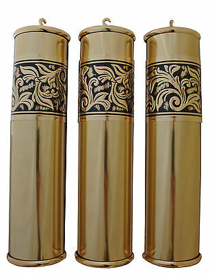 New Embossed 60x245mm Polished Grandfather Clock Weight Shell Set US Made (WS14)