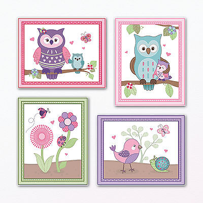 Happy Owl and Friends Nursery Wall Art Prints/Posters. Owls/Birds Girls Wall Art