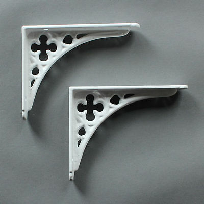 "Pair WHITE 5x4"" SMALL ANTIQUE VINTAGE GOTHIC CAST IRON SHELF BRACKETS (BR03wx2)"