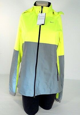 a6caabb2a Nike Shield Flash Volt   Reflective Silver Hooded Running Jacket Women s NWT