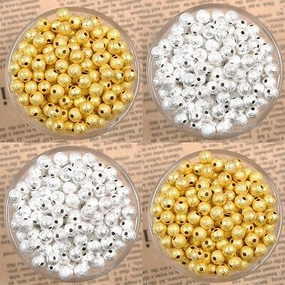 1000pcs Silver Gold plating Stardust Copper Ball 3/4/5/6/8/10mm Spacer Beads
