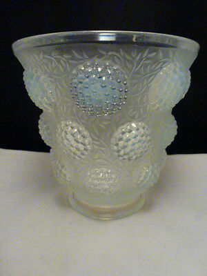 "Verlys French art glass vase - opalescent blue designs  ""Les Cabochons"""