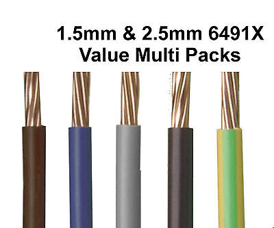 6491X 1.5mm 2.5mm 4mm Single Core Conduit Cable Wire CHOOSE COLOUR / LENGTH
