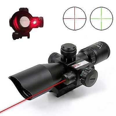 Hunting 2.5-10x40 Rifle Scope Red Laser illuminated Mil-dot w/ Rail Mounts