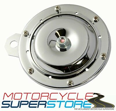 UNIVERSAL LOUD REPLACEMENT 12v MOTORCYCLE MOTORBIKE CHROME HORN 110db