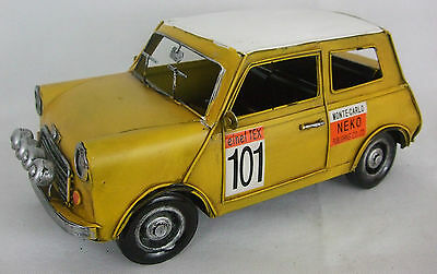 Tin Plate Model of a Yellow and White Racing Mini no:101 /Ornament /Gift