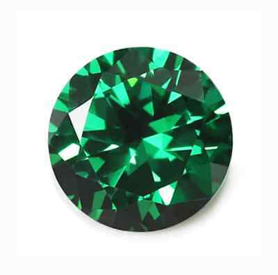 IF ROUND (3mm - 10mm) RUSSIAN SIMULATED LAB DIAMOND EMERALD GREEN LOOSE STONES
