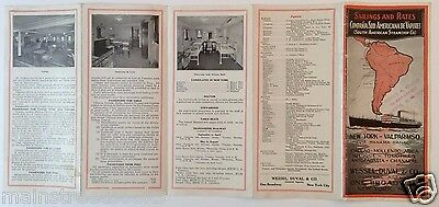 1930 SOUTH AMERICAN STEAMSHIP TIMETABLE Staterooms Panama Canal VALPARAISO CHILE