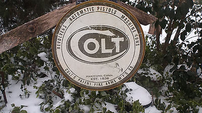 Colt Firearms Pistol Pistols Guns Ammunition Round Tin Vintage Advertising Sign