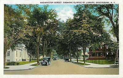 The View Down Washington Street, Showing A Glimpse of the Library, Ogdensburg NY