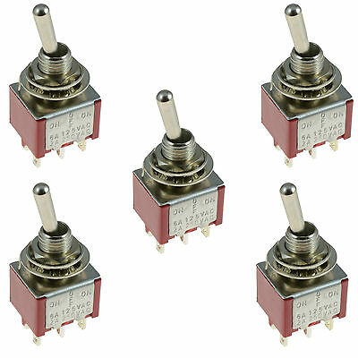 5 x On/Off/On 3-Position Mini Toggle Switch Car Dash Dashboard DPDT 12V