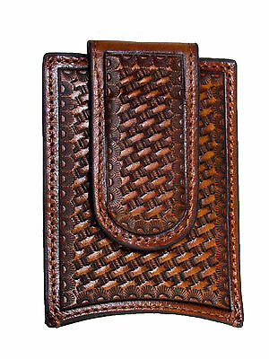 Nocona Mens Leather Money Clip Credit Card Holder Tooled Basket Weave Brown