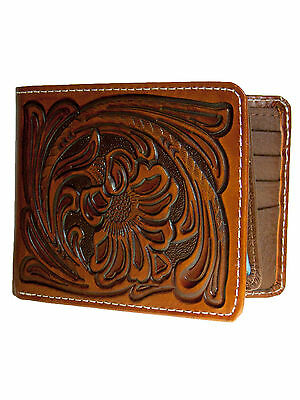 Nocona Mens Western Leather Wallet Bi-fold Style Tooled