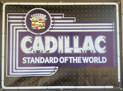 Cadillac Dealer Marquee Neon Style Printed Banner Sign Retro Art Large 4' X 3'