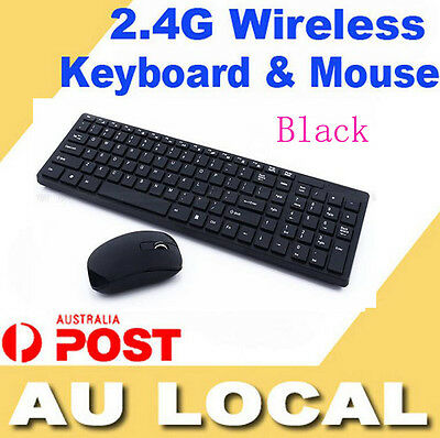2.4G USB Optical Wireless Keyboard And Mouse Cordless For PC Laptop Black New