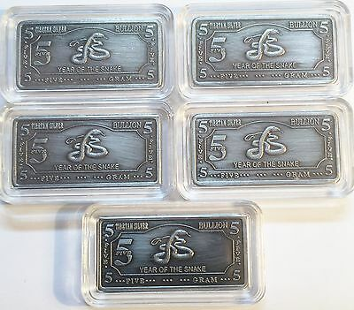"5 x 5 Gram (25 grams) Tibetan Silver ""Year Of The Snake"" Ingots Bargain C/rance"