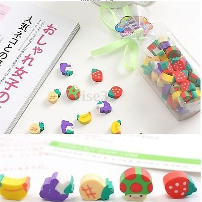 50Pcs Cute Mini Fruit Rubber Pencil Eraser Creative Stationery Children Gift Toy