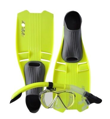 NEW Clearance Size 8-9 Adult Snorkeling Set - YELLOW FINS FLIPPERS MASK & SNORKE