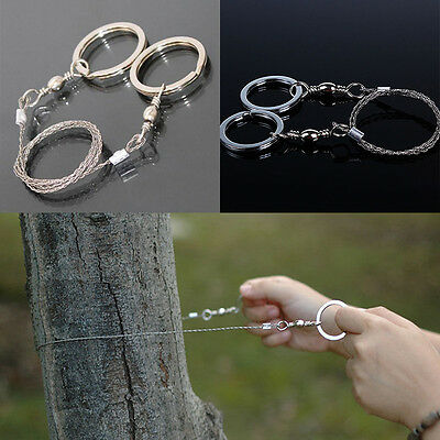 Stainless Steel Wire Saw Outdoor Hiking Camping Emergency Pocket Chain Gear Saw