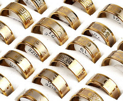 Fashion Wholesale Lots 12pcs Gold Mixed Pattern Men's Stainless Steel Rings