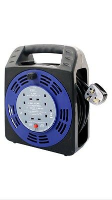4 Way 25M Cable Extension Reel Lead Mains Socket Heavy Duty 13 Amp Electrical Uk