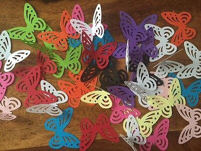 150 LARGE Butterflies paper table decoration confetti pink purple black lime red