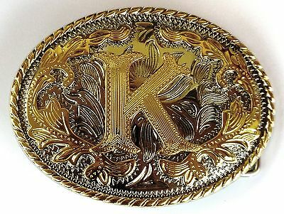 "Initial "" K ""  Rodeo Cowboy Letter Shine Gold Silver Western Belt Buckle"