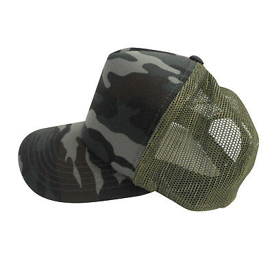 Olive Green Camo Trucker Hat Pit Bull Cap Snapback Adjustable Polyester 3e698c75445