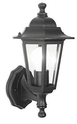 Outdoor traditional 6 sided coach lantern die-cast alum in black