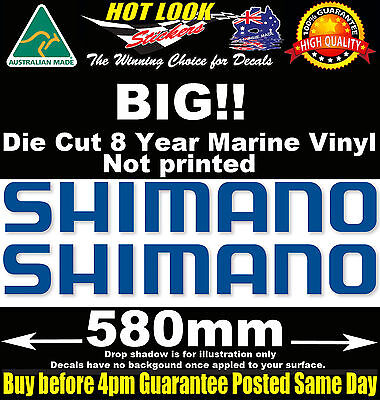 SHIMANO Decals x2 HUGE 580mm Wide stickers for boat fishing tackle box fridge