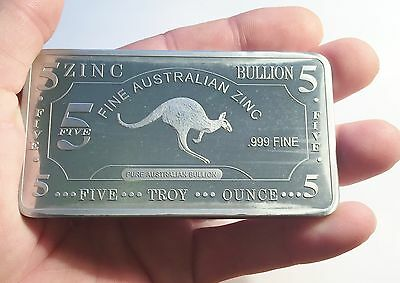 "5 Oz ""Kangaroo"" 999 Solid Zinc Ingot 9 cm x 5 cm x 4 mm Bargain Clearance Sale"