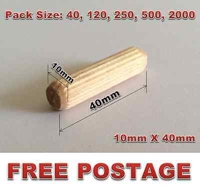 10mm x 40mm Fluted Wooden Wood Dowels Dowel DIY 40 120 250 500 2000 Pack Size