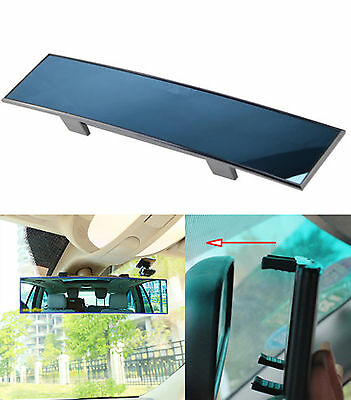 Universal Car Blue Oversized 30cm Wide Angle Interior Rear View Mirror Clip On