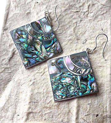 MEXICAN EARRINGS Hand Crafted  Sterling Silver Plated Green Colour Abalone Shell