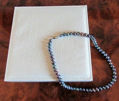 Black real freshwater pearl 18 inch necklace with silver clasp gift boxed