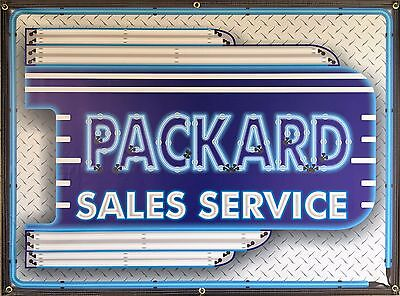 Packard Sales Dealer Marquee Neon Style Printed Banner Sign Remake Art 4' X 3'